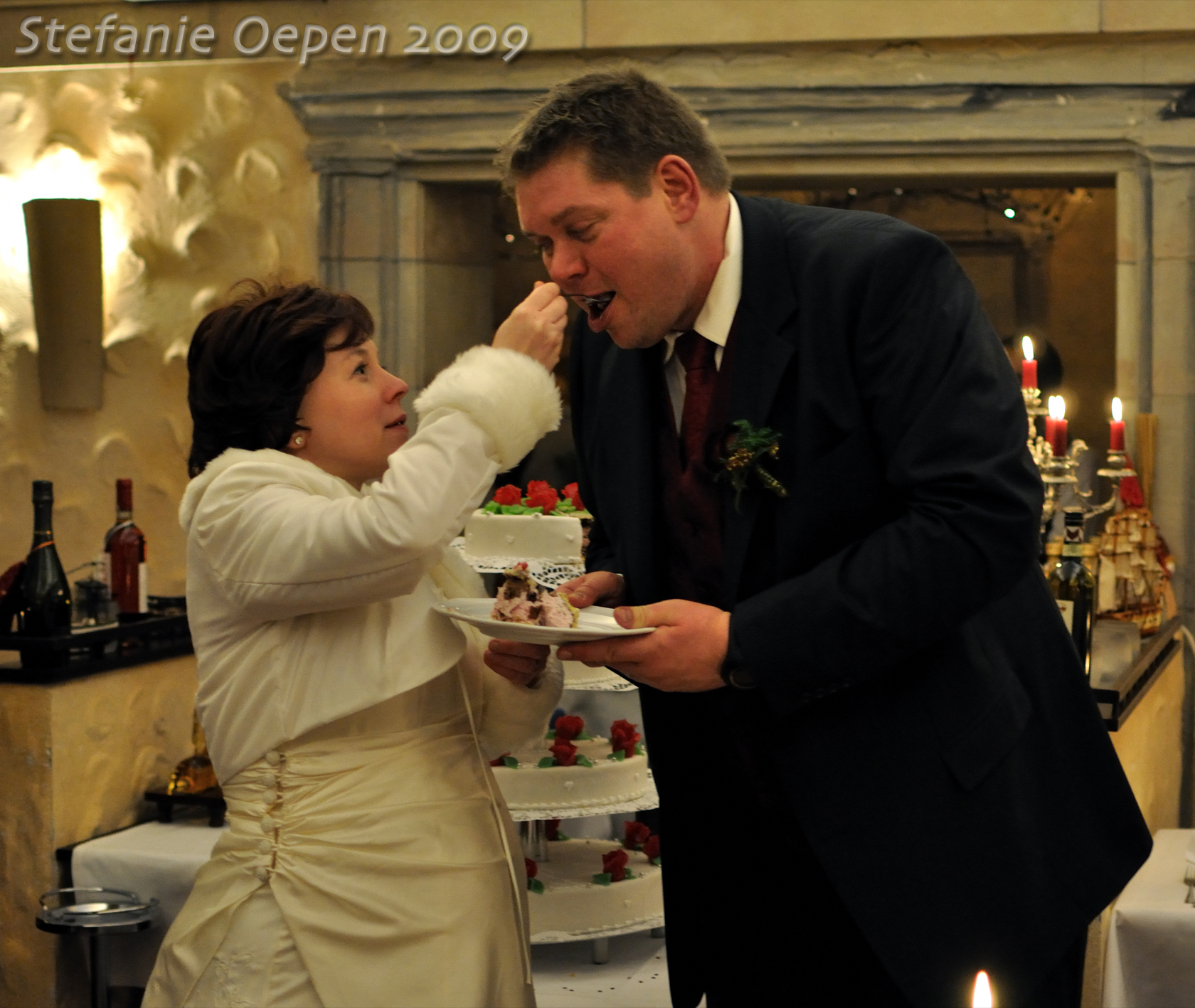 Eating wedding cake; December 2009